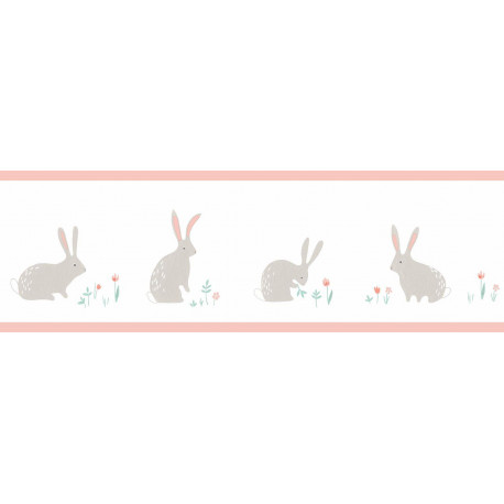 Frise enfant Bunny rose à motif lapins - HAPPY DREAMS Casadeco