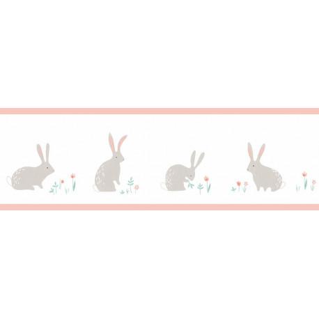 Frise enfant Bunny rose à motif lapins - HAPPY DREAMS Casadeco