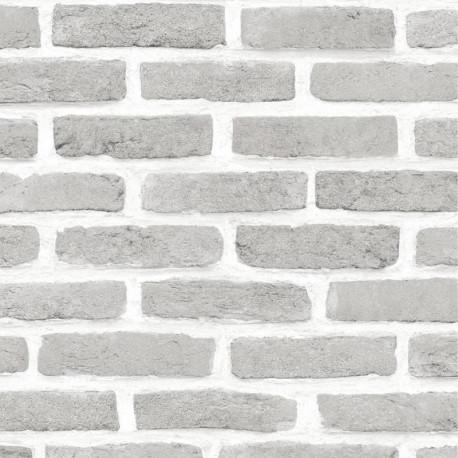 Papier peint Mur de Briques gris - ROLL IN STONES - Ugepa - J66609