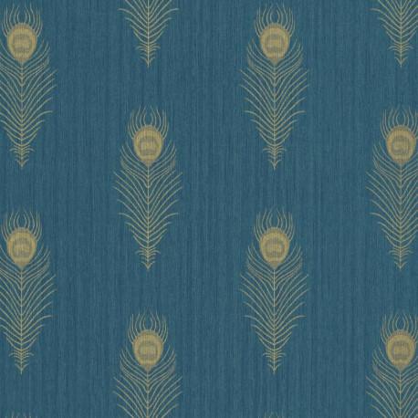 Papier peint PEACOCK bleu canard et doré - SCARLETT - Caselio