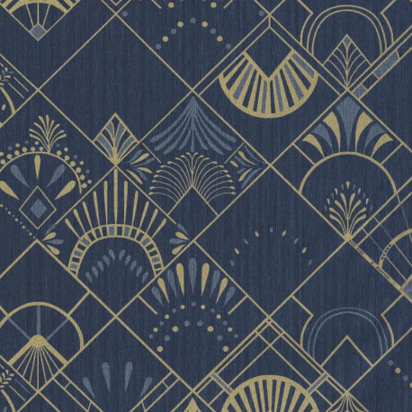 Papier peint GOLDEN YEARS bleu nuit et or - SCARLETT - Caselio