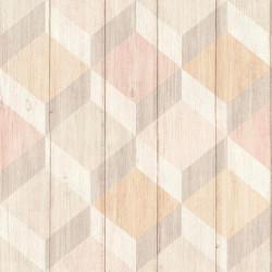 Papier peint à motif Cubes bois rose et beige - Collection INSPIRATION WALL - GRANDECO