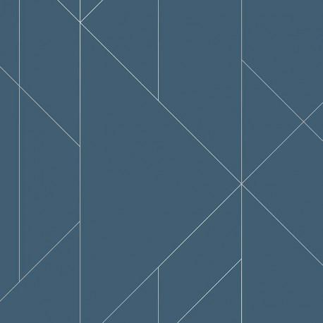 Papier peint TORPA bleu, argent- TERENCE CONRAN- LUTÈCE