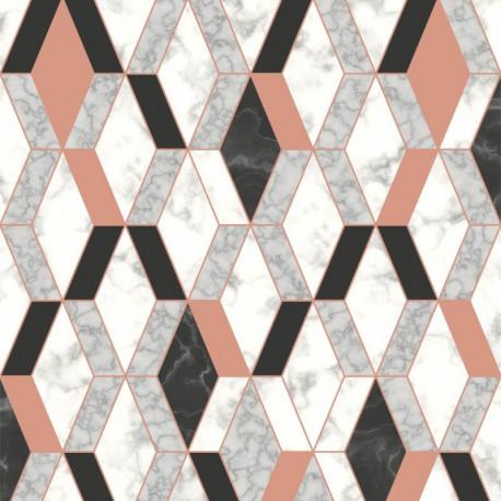 Papier peint vinyle motif hexagonal marbre et rose - HEXAGONE - UGEPA