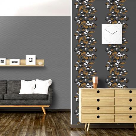 Papier peint vinyle intissé géométrique gris et or - HEXAGONE - UGEPA
