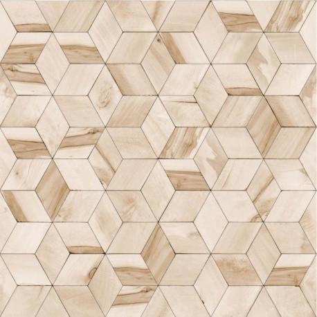 Papier peint vinyle géométrique beige effet de bois - HEXAGONE - UGEPA
