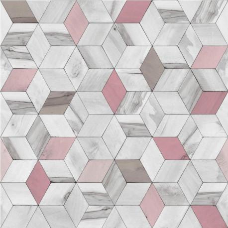 Papier peint vinyle géométrique bleu effet de bois - HEXAGONE - UGEPA