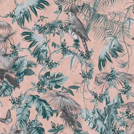Papier peint vinyle foil à motif Tropical vert et rose - Escapade Ugepa