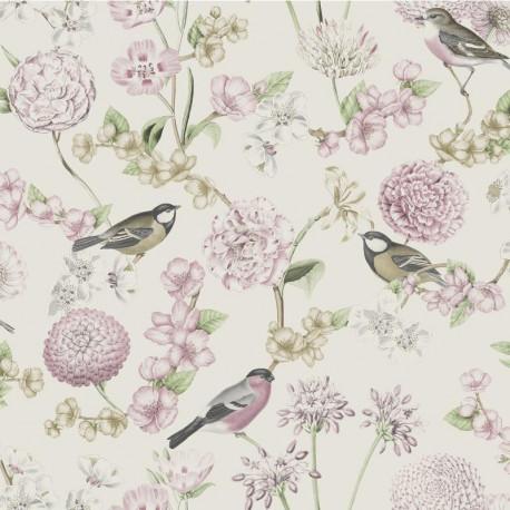 Papier peint expansé motif Fleuri et Oiseaux - Rose - Escapade Ugepa