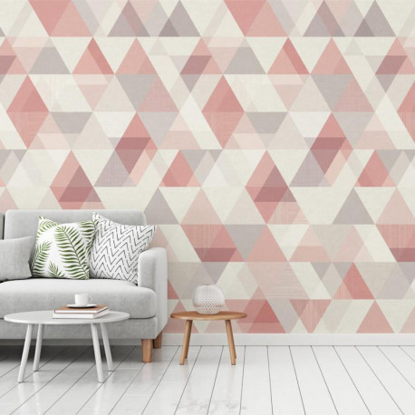 Panoramique Triangles rose - INSPIRATION WALL - Grandeco - IW2402-MURALD