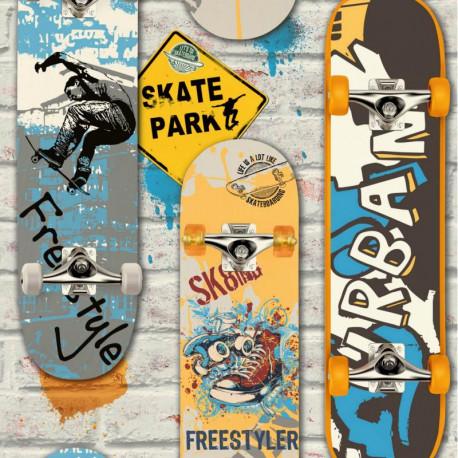 Papier peint Skate et Briques - FREE STYLE - Ugepa - L29505