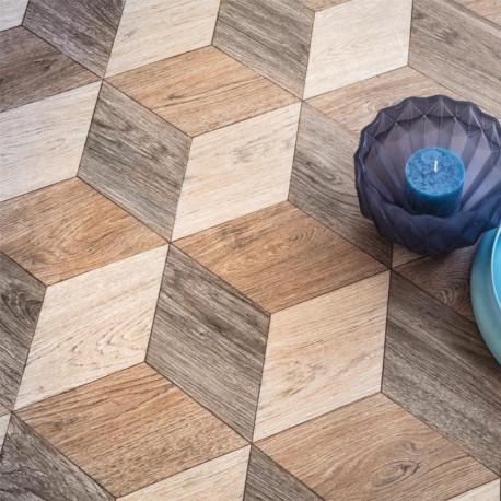 Sol vinyle WIZZART - motif cubes bois - Largeur 3m - Audrey 537 - Leoline IVC