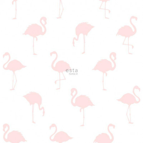 Papier peint intissé enfant Flamants rose clair - Little Bandits - ESTA HOME