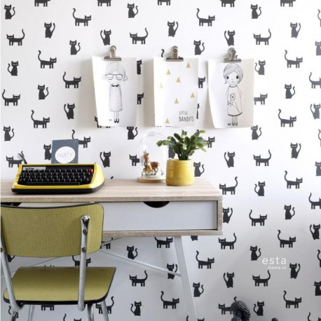 Papier peint enfant Chatons noir et blanc - Little Bandits - ESTA HOME