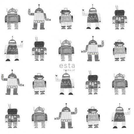 Papier peint enfant Robots jouets vintage noir et blanc - Little Bandits - ESTA HOME