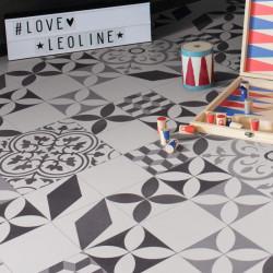 Sol vinyle TEXMARK - carreau ciment noir blanc gris - Largeur 3m - Feliz 595 - Leoline IVC