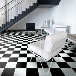 Revêtement PVC - Largeur 4m - TextStyle Modena 901D damier noir et blanc - Leoline IVC