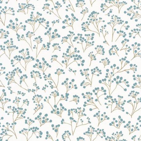 Papier peint vinyle sur intissé POPPY bleu or - Collection Sunny Day - CASELIO