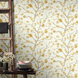 Papier peint japonisant USHI jaune ocre. Graham & Brown