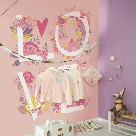 Panoramique LOVE rose et fleurs - Collection GIRL POWER - CASELIO