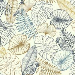Papier peint vinyle sur intissé Perroquet Graphique Bleu - Lutèce