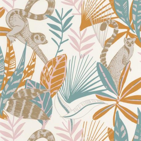 Papier peint Madagascar bleu, ocre et rose - L'ODYSSEE - Caselio OYS101403211