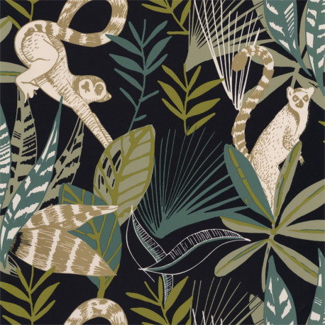 Papier peint Madagascar noir, vert émeraude et doré - L'ODYSSEE - Caselio OYS101407922