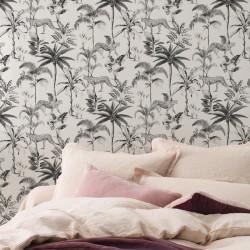 Papier peint 409017 SAVANE motif jungle noir et blanc - Rasch