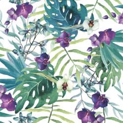 Papier peint Floral palmes et orchidées - violet, bleu et vert - Ugepa
