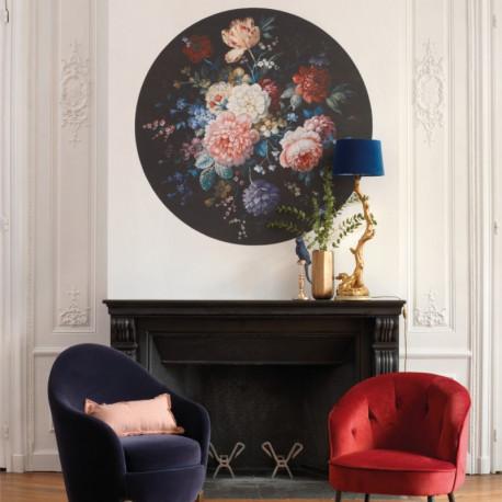 Panoramique rond GERTRUDE noir et rose - Beauty Full Image par Casadeco