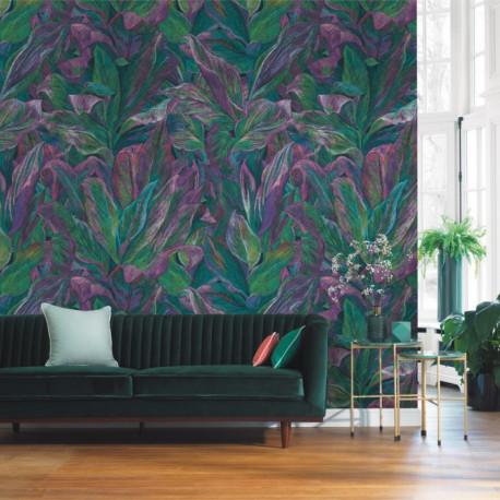 Panoramique FOLIAGE vert et violet - Beauty Full Image par Casadeco