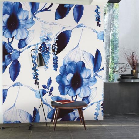 Panoramique INK FLOWER bleu et blanc - Beauty Full Image par Casadeco