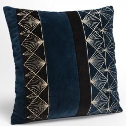 Coussin EMPIRE motif art déco bleu et noir - 40x40cm - Amadeus