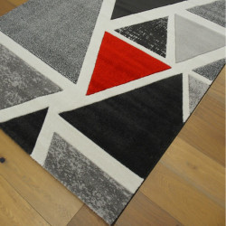 Tapis moderne Triangles rouge et gris - 160x230cm - Shuffle - BALTA