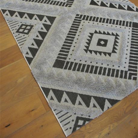 Tapis corde et shaggy Ethnique gris et noir - 160x230cm - RITUAL