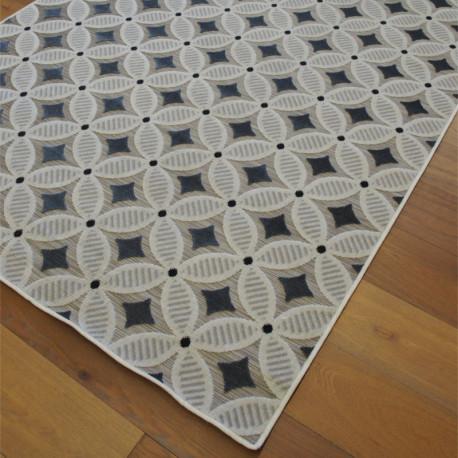 Tapis corde et poil ras fleurs Art Déco écru et gris - 160x230cm - FLOW