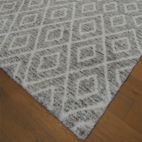 Tapis shaggy à motif berbère losanges gris chiné - 200x290cm - SHERPA