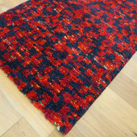 Tapis shaggy motif moderne fondu rouge - 120x170cm - SHERPA