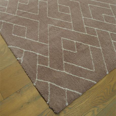 Tapis tout doux PEPPER vieux rose à motif berbere écru - 120x170cm.