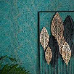 Papier peint Palmes BALI bleu vert - ERISMANN