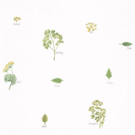 Papier peint bouquet garni vert - Au bistrot d'Alice - Caselio