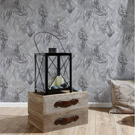 Papier peint jungle palmes gris noir blanc  - Greenery - AS CREATION