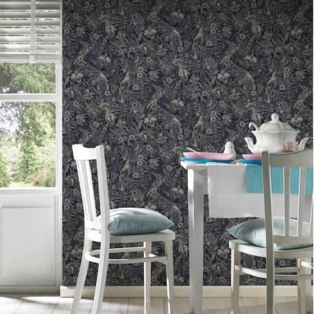 Papier peint Jungle perroquets crème, gris, noir 372104 - Greenery - AS CREATION