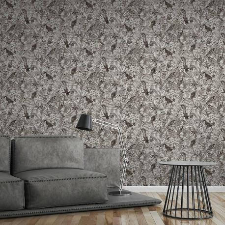 Papier peint Jungle perroquets blanc, gris, noir  372105 - Greenery - AS CREATION