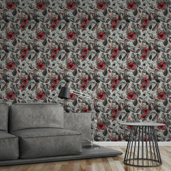 Papier peint Fleurs blanc, gris, rouge, marron  372161 - Greenery - AS CREATION