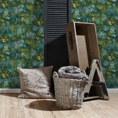Papier peint Jungle amazonia vert bleu 372803 - Greenery - AS CREATION