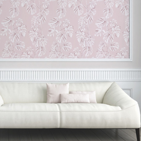Papier peint Jungle feuille de bananier rose blanc 372811 - Greenery - AS CREATION