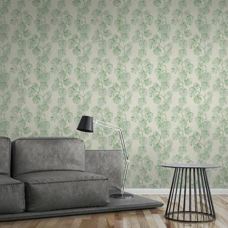 Papier peint Jungle feuille de bananier vert blanc 372813 - Greenery - AS CREATION