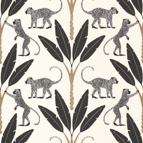 Papier peint Monkey Forest Noir Blanc Or Fond Blanc -MOONLIGHT- Caselio MLG101179020