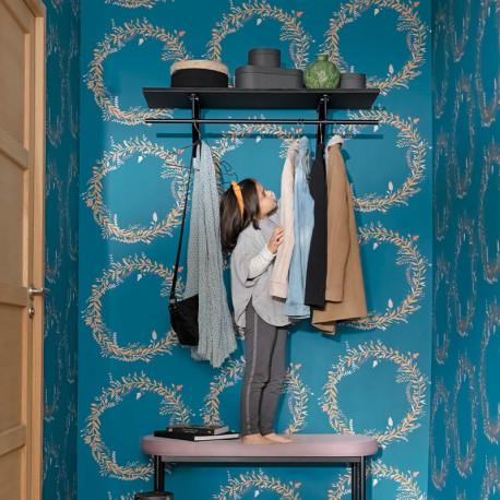 Papier peint Harmony bleu madura, rose or  -GREEN LIFE- Caselio GNL101686029